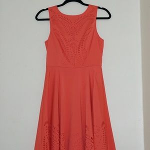 Salmon Laser Cut Dress